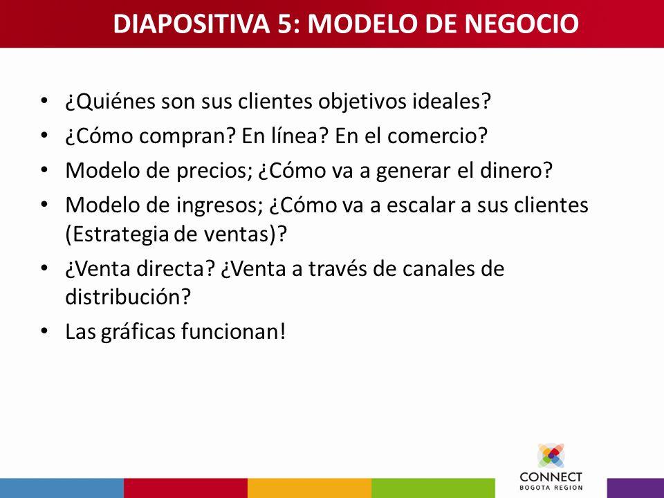 ¿Quiénes son sus clientes objetivos ideales? ¿Cómo compran? En línea? En el comercio? Modelo de precios; ¿Cómo va a generar el dinero? Modelo de ingre