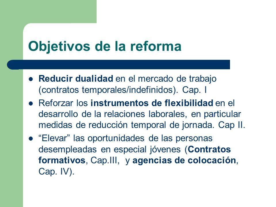 Objetivos de la reforma Reducir dualidad en el mercado de trabajo (contratos temporales/indefinidos). Cap. I Reforzar los instrumentos de flexibilidad