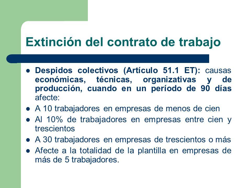 Extinción del contrato de trabajo Despidos colectivos (Artículo 51.1 ET): causas económicas, técnicas, organizativas y de producción, cuando en un per