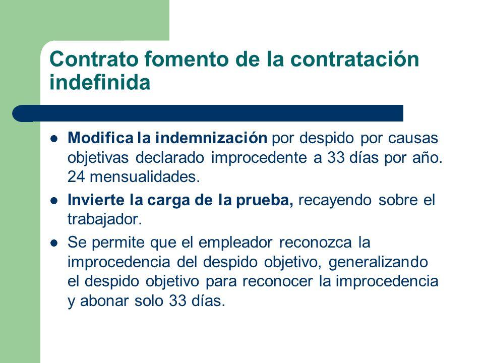 Contrato fomento de la contratación indefinida Modifica la indemnización por despido por causas objetivas declarado improcedente a 33 días por año. 24