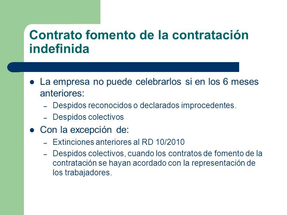 Contrato fomento de la contratación indefinida La empresa no puede celebrarlos si en los 6 meses anteriores: – Despidos reconocidos o declarados impro