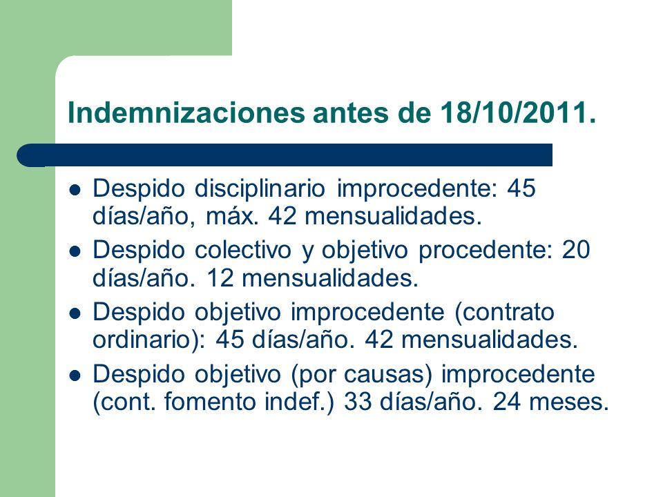 Indemnizaciones antes de 18/10/2011. Despido disciplinario improcedente: 45 días/año, máx. 42 mensualidades. Despido colectivo y objetivo procedente:
