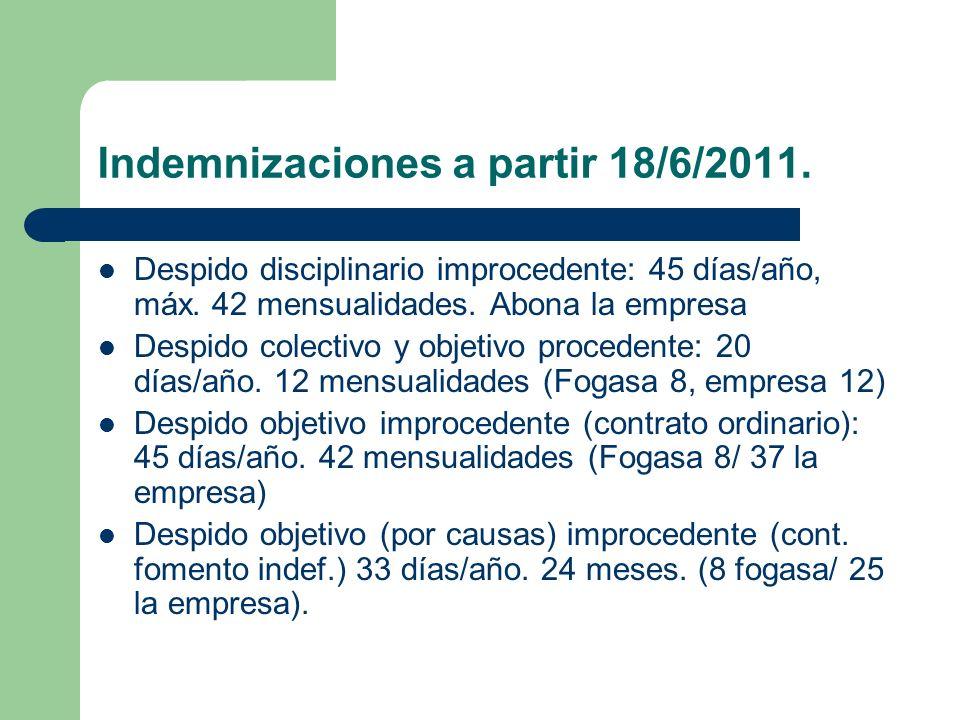 Indemnizaciones a partir 18/6/2011. Despido disciplinario improcedente: 45 días/año, máx. 42 mensualidades. Abona la empresa Despido colectivo y objet