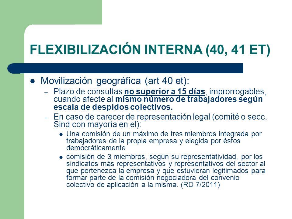 FLEXIBILIZACIÓN INTERNA (40, 41 ET) Movilización geográfica (art 40 et): – Plazo de consultas no superior a 15 días, improrrogables, cuando afecte al