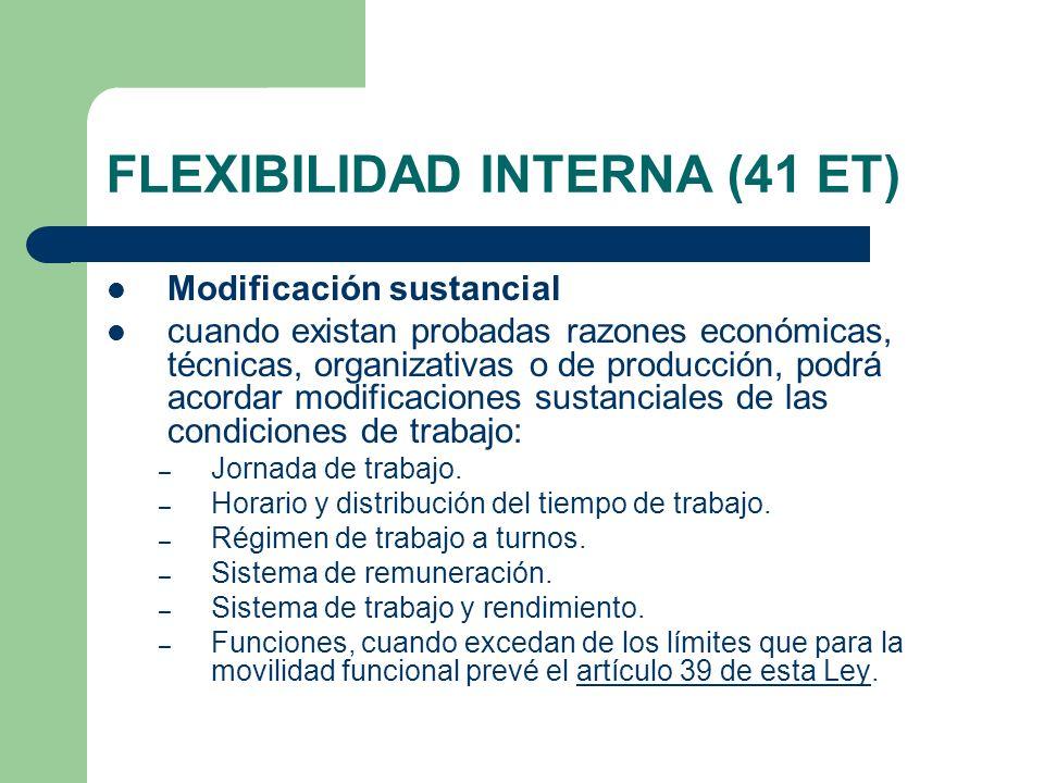 FLEXIBILIDAD INTERNA (41 ET) Modificación sustancial cuando existan probadas razones económicas, técnicas, organizativas o de producción, podrá acorda