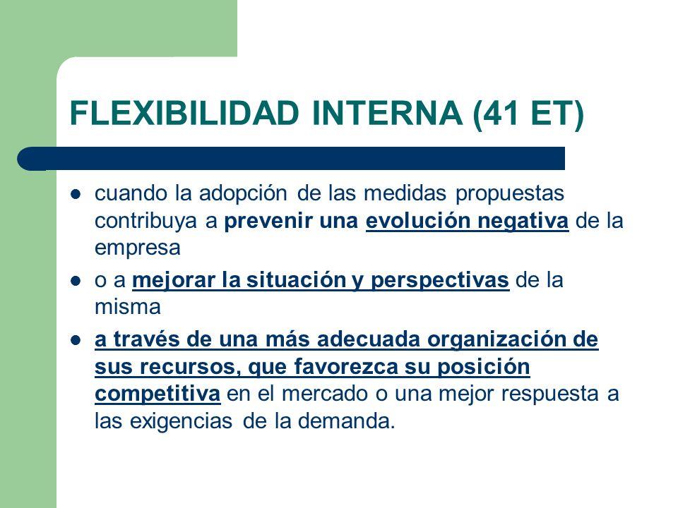 FLEXIBILIDAD INTERNA (41 ET) cuando la adopción de las medidas propuestas contribuya a prevenir una evolución negativa de la empresa o a mejorar la si