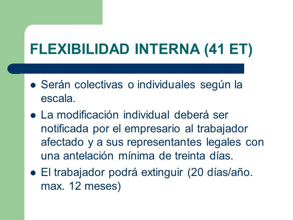 FLEXIBILIDAD INTERNA (41 ET) Serán colectivas o individuales según la escala. La modificación individual deberá ser notificada por el empresario al tr