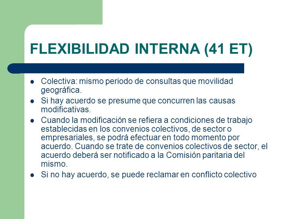 FLEXIBILIDAD INTERNA (41 ET) Colectiva: mismo periodo de consultas que movilidad geográfica. Si hay acuerdo se presume que concurren las causas modifi