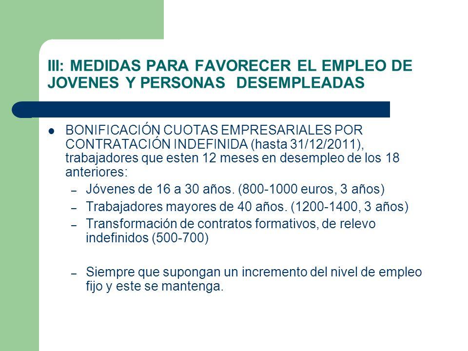 III: MEDIDAS PARA FAVORECER EL EMPLEO DE JOVENES Y PERSONAS DESEMPLEADAS BONIFICACIÓN CUOTAS EMPRESARIALES POR CONTRATACIÓN INDEFINIDA (hasta 31/12/20