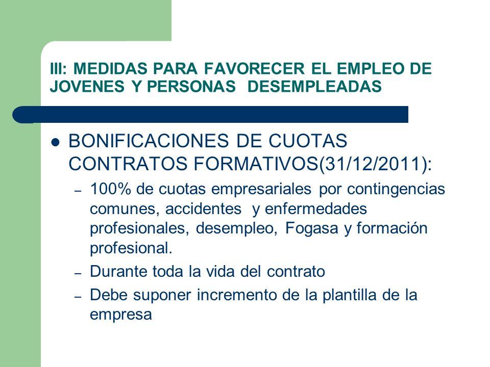 III: MEDIDAS PARA FAVORECER EL EMPLEO DE JOVENES Y PERSONAS DESEMPLEADAS BONIFICACIONES DE CUOTAS CONTRATOS FORMATIVOS(31/12/2011): – 100% de cuotas e