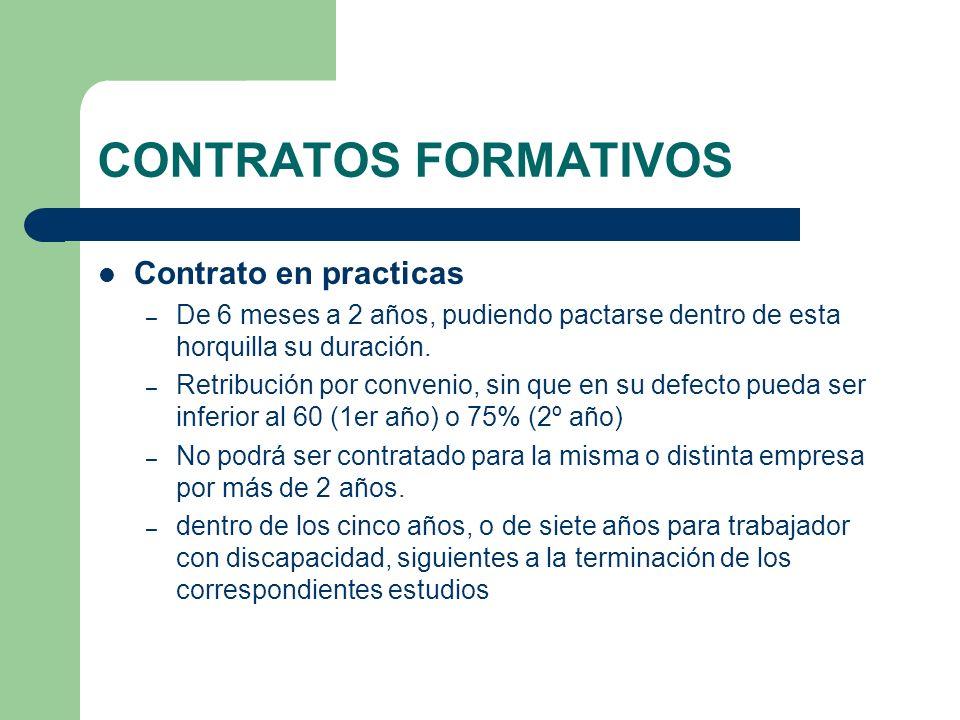 CONTRATOS FORMATIVOS Contrato en practicas – De 6 meses a 2 años, pudiendo pactarse dentro de esta horquilla su duración. – Retribución por convenio,