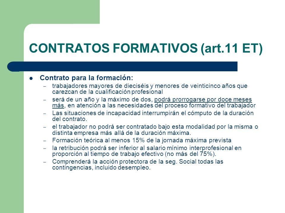 CONTRATOS FORMATIVOS (art.11 ET) Contrato para la formación: – trabajadores mayores de dieciséis y menores de veinticinco años que carezcan de la cual