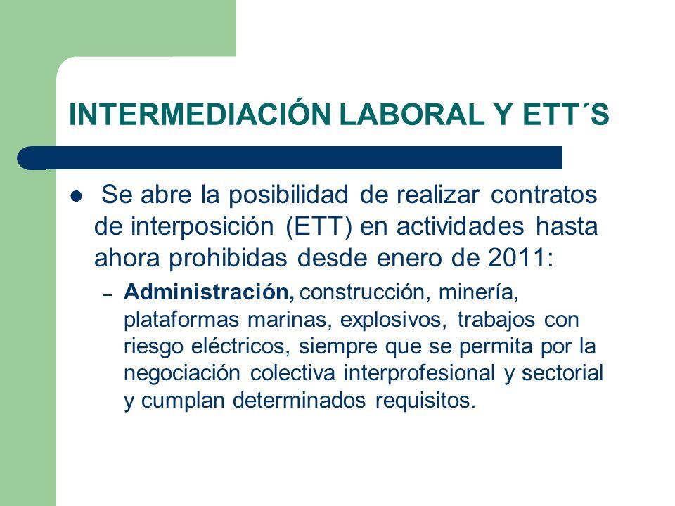 INTERMEDIACIÓN LABORAL Y ETT´S Se abre la posibilidad de realizar contratos de interposición (ETT) en actividades hasta ahora prohibidas desde enero d