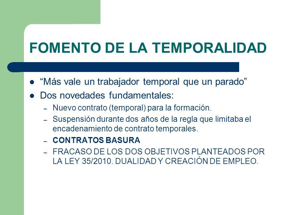 FOMENTO DE LA TEMPORALIDAD Más vale un trabajador temporal que un parado Dos novedades fundamentales: – Nuevo contrato (temporal) para la formación. –