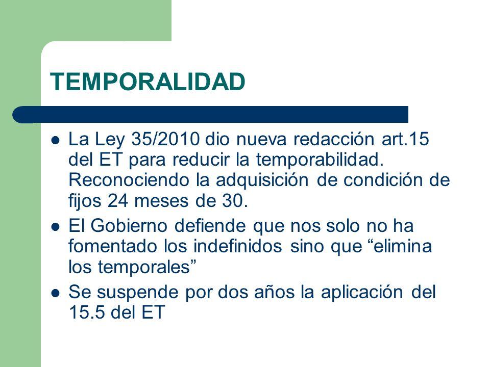 TEMPORALIDAD La Ley 35/2010 dio nueva redacción art.15 del ET para reducir la temporabilidad. Reconociendo la adquisición de condición de fijos 24 mes