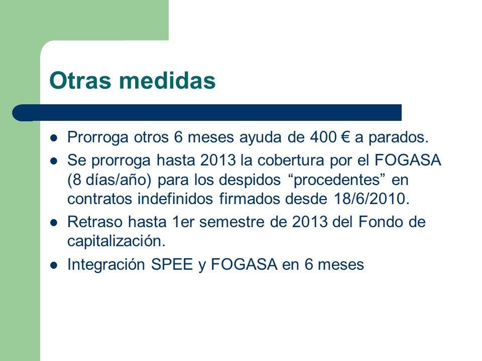 Otras medidas Prorroga otros 6 meses ayuda de 400 a parados. Se prorroga hasta 2013 la cobertura por el FOGASA (8 días/año) para los despidos proceden