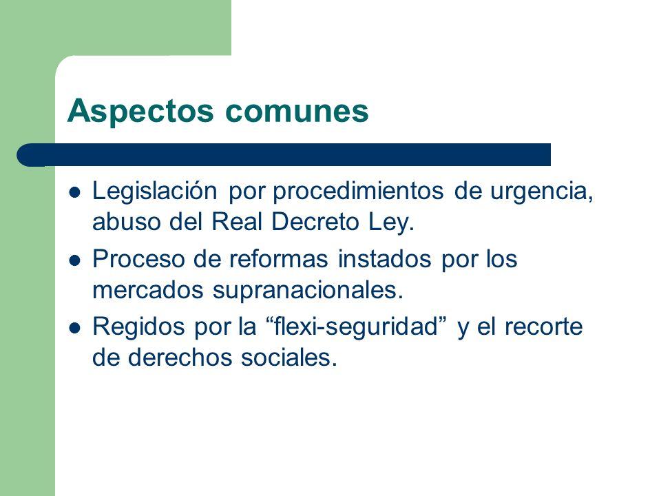Aspectos comunes Legislación por procedimientos de urgencia, abuso del Real Decreto Ley. Proceso de reformas instados por los mercados supranacionales