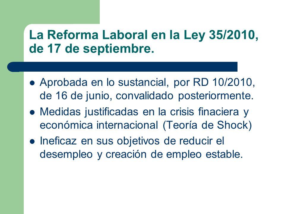 La Reforma Laboral en la Ley 35/2010, de 17 de septiembre. Aprobada en lo sustancial, por RD 10/2010, de 16 de junio, convalidado posteriormente. Medi