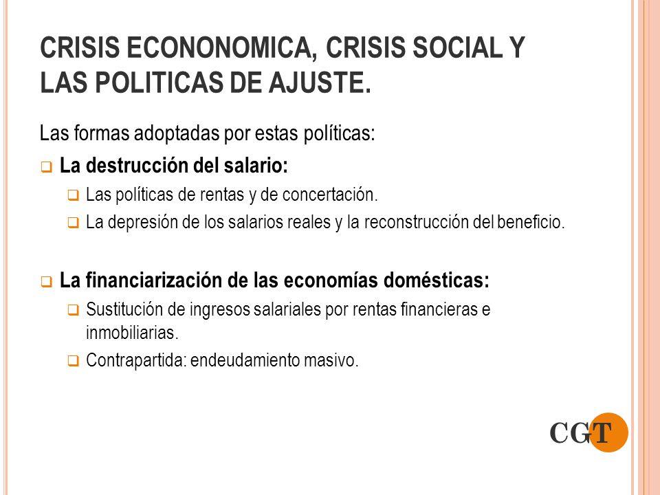 CRISIS ECONONOMICA, CRISIS SOCIAL Y LAS POLITICAS DE AJUSTE. Las formas adoptadas por estas políticas: La destrucción del salario: Las políticas de re