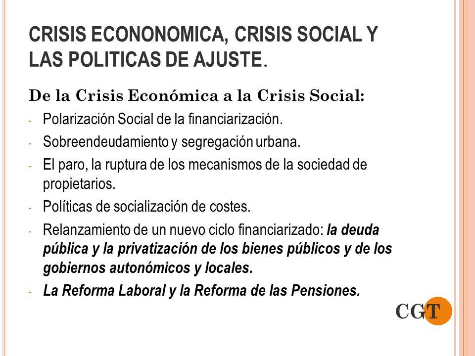 CRISIS ECONONOMICA, CRISIS SOCIAL Y LAS POLITICAS DE AJUSTE. De la Crisis Económica a la Crisis Social: - Polarización Social de la financiarización.