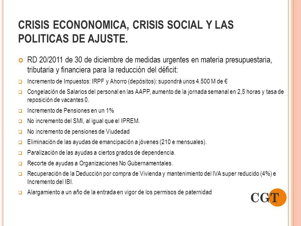 CRISIS ECONONOMICA, CRISIS SOCIAL Y LAS POLITICAS DE AJUSTE. RD 20/2011 de 30 de diciembre de medidas urgentes en materia presupuestaria, tributaria y