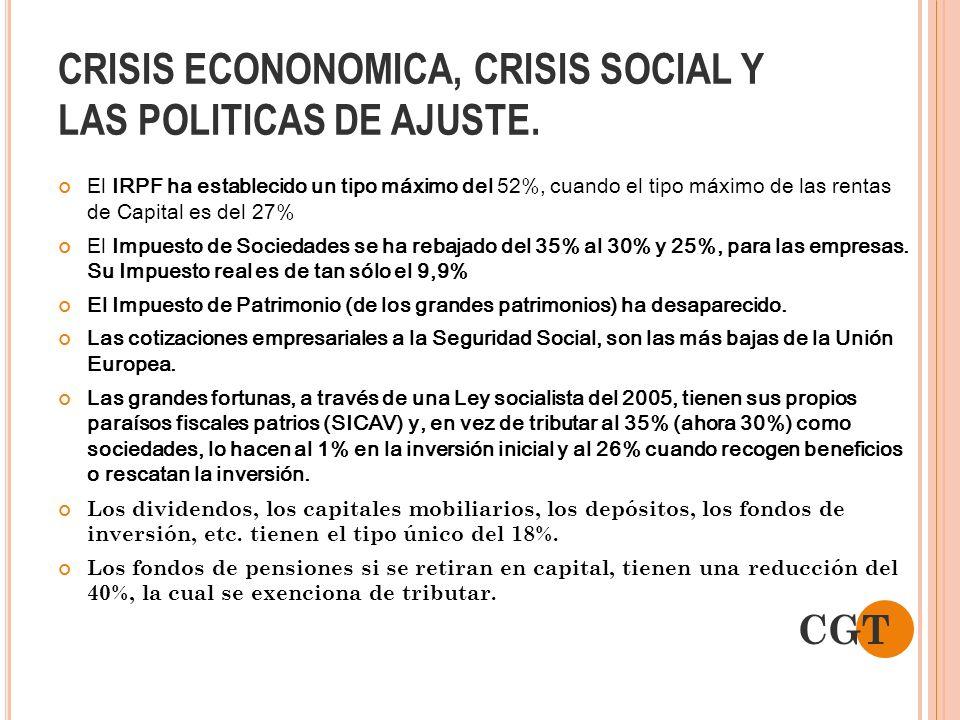 CRISIS ECONONOMICA, CRISIS SOCIAL Y LAS POLITICAS DE AJUSTE. El IRPF ha establecido un tipo máximo del 52%, cuando el tipo máximo de las rentas de Cap