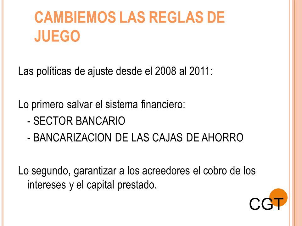CAMBIEMOS LAS REGLAS DE JUEGO Las políticas de ajuste desde el 2008 al 2011: Lo primero salvar el sistema financiero: - SECTOR BANCARIO - BANCARIZACIO