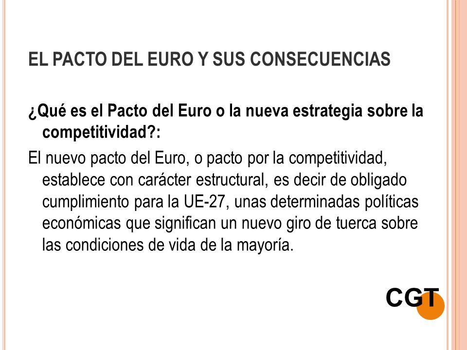 EL PACTO DEL EURO Y SUS CONSECUENCIAS ¿Qué es el Pacto del Euro o la nueva estrategia sobre la competitividad?: El nuevo pacto del Euro, o pacto por l