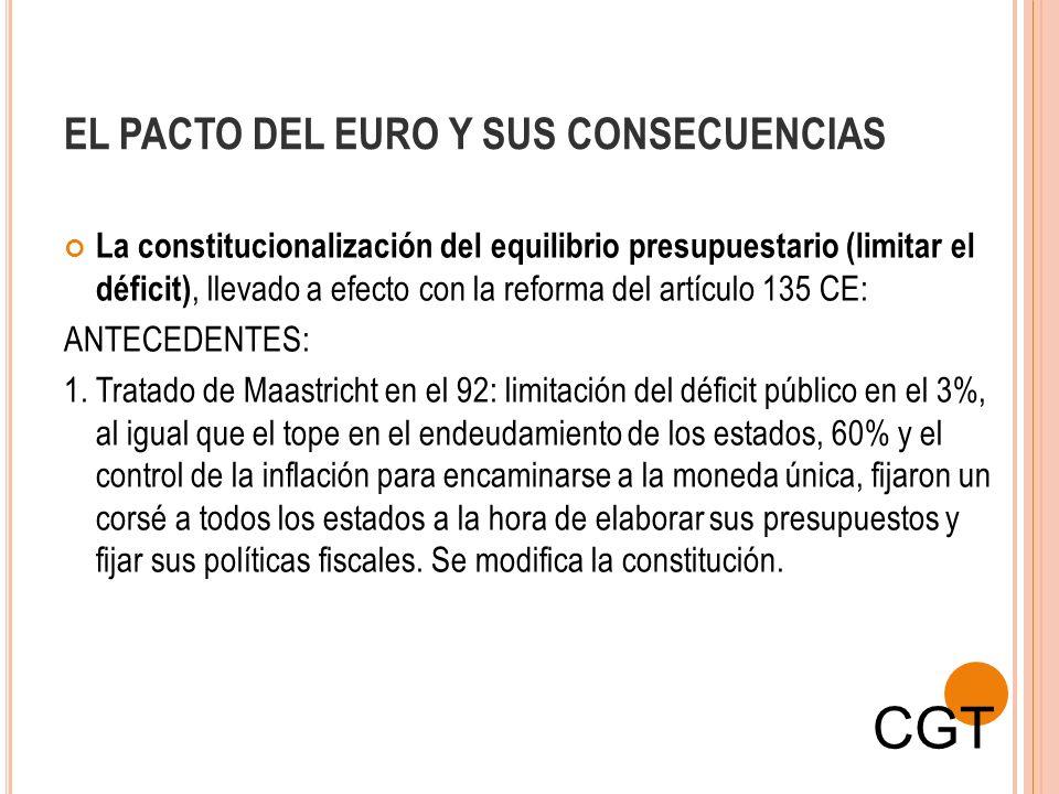 EL PACTO DEL EURO Y SUS CONSECUENCIAS La constitucionalización del equilibrio presupuestario (limitar el déficit), llevado a efecto con la reforma del