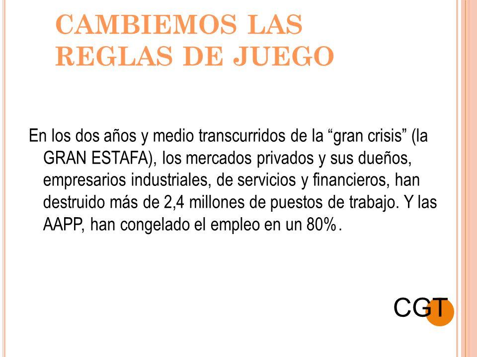 CAMBIEMOS LAS REGLAS DE JUEGO En los dos años y medio transcurridos de la gran crisis (la GRAN ESTAFA), los mercados privados y sus dueños, empresario