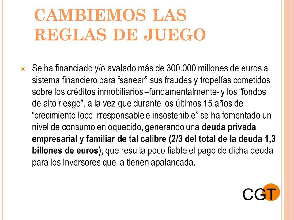 CAMBIEMOS LAS REGLAS DE JUEGO Se ha financiado y/o avalado más de 300.000 millones de euros al sistema financiero para sanear sus fraudes y tropelías