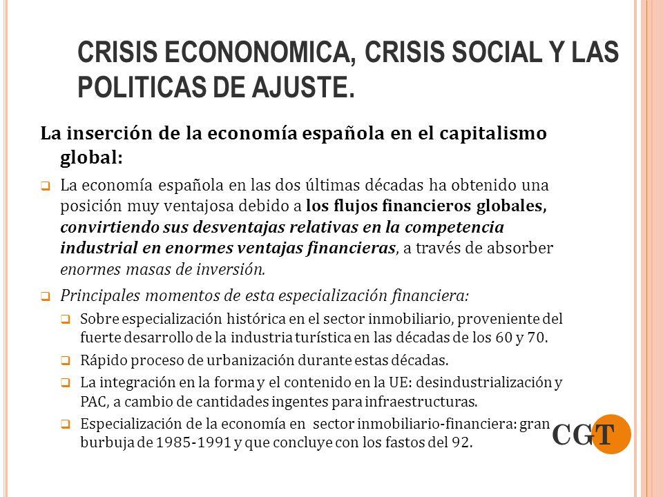 CRISIS ECONONOMICA, CRISIS SOCIAL Y LAS POLITICAS DE AJUSTE. La inserción de la economía española en el capitalismo global: La economía española en la