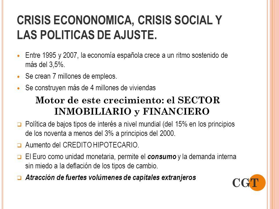 CRISIS ECONONOMICA, CRISIS SOCIAL Y LAS POLITICAS DE AJUSTE. Entre 1995 y 2007, la economía española crece a un ritmo sostenido de más del 3,5%. Se cr