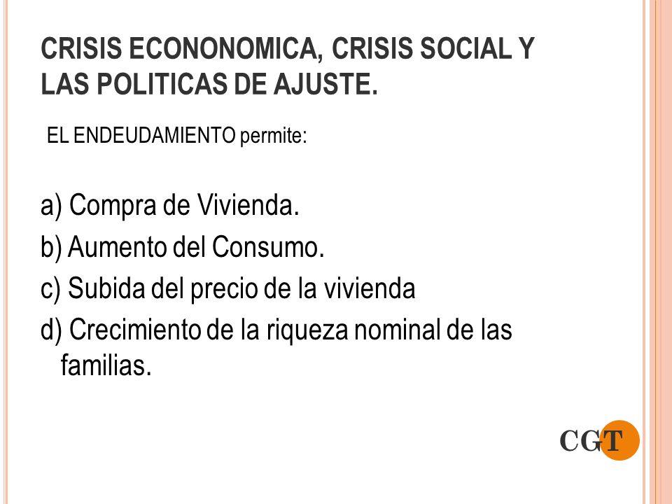 CRISIS ECONONOMICA, CRISIS SOCIAL Y LAS POLITICAS DE AJUSTE. EL ENDEUDAMIENTO permite: a) Compra de Vivienda. b) Aumento del Consumo. c) Subida del pr