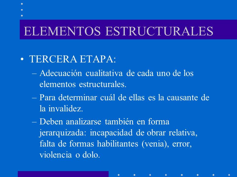 ELEMENTOS ESTRUCTURALES TERCERA ETAPA: –Adecuación cualitativa de cada uno de los elementos estructurales. –Para determinar cuál de ellas es la causan
