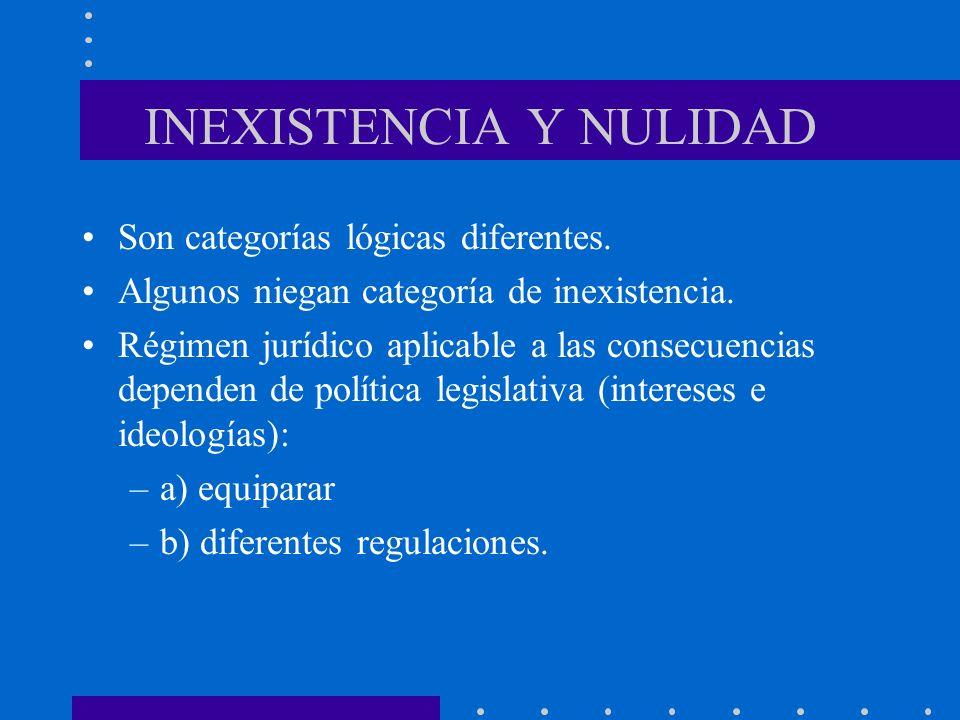 INEXISTENCIA Y NULIDAD Son categorías lógicas diferentes. Algunos niegan categoría de inexistencia. Régimen jurídico aplicable a las consecuencias dep