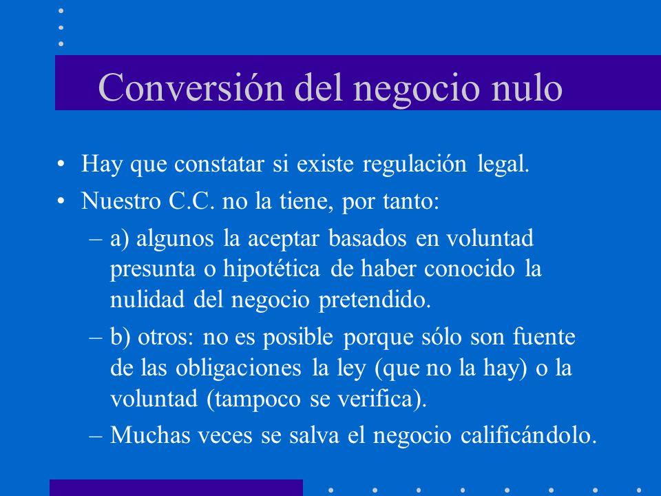 Conversión del negocio nulo Hay que constatar si existe regulación legal. Nuestro C.C. no la tiene, por tanto: –a) algunos la aceptar basados en volun