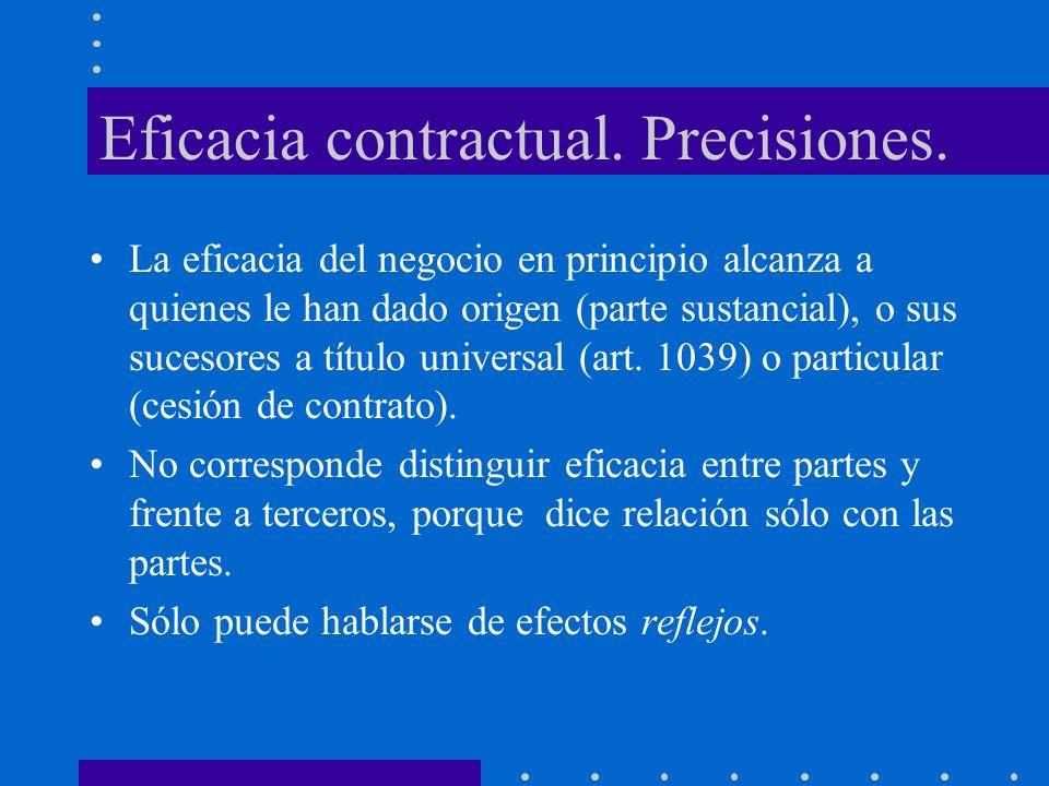 Eficacia contractual. Precisiones. La eficacia del negocio en principio alcanza a quienes le han dado origen (parte sustancial), o sus sucesores a tít