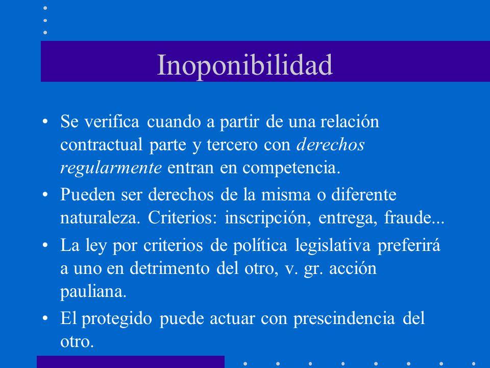 Inoponibilidad Se verifica cuando a partir de una relación contractual parte y tercero con derechos regularmente entran en competencia. Pueden ser der