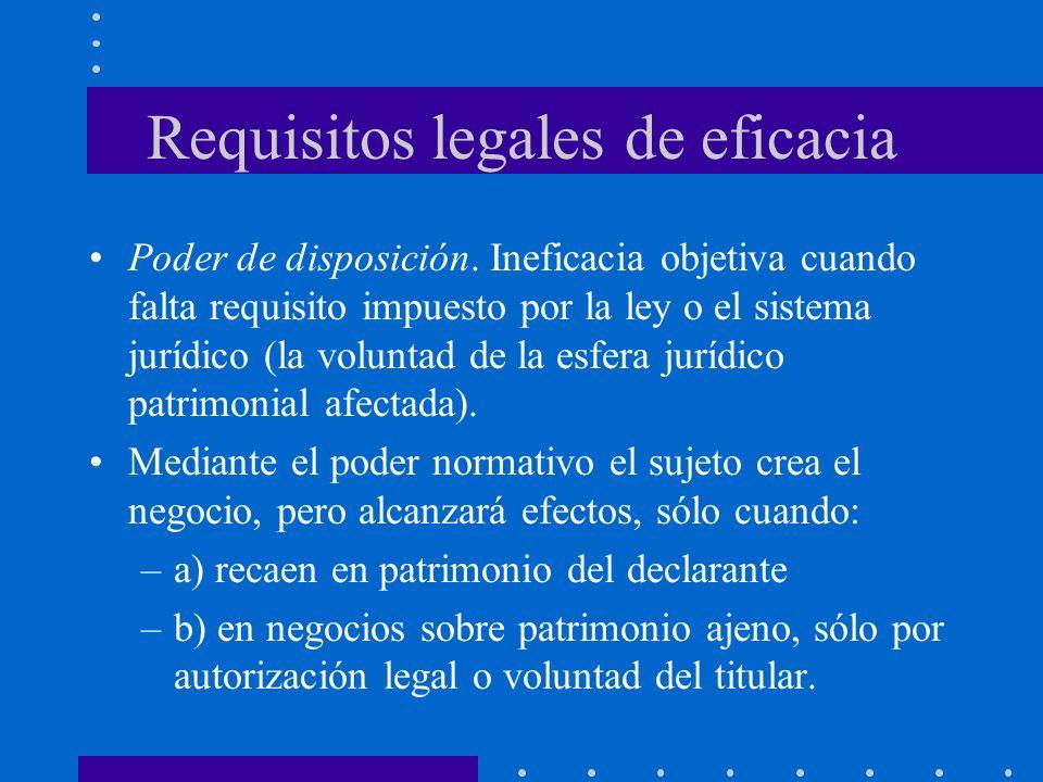 Requisitos legales de eficacia Poder de disposición. Ineficacia objetiva cuando falta requisito impuesto por la ley o el sistema jurídico (la voluntad