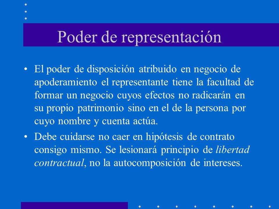 Poder de representación El poder de disposición atribuido en negocio de apoderamiento el representante tiene la facultad de formar un negocio cuyos ef