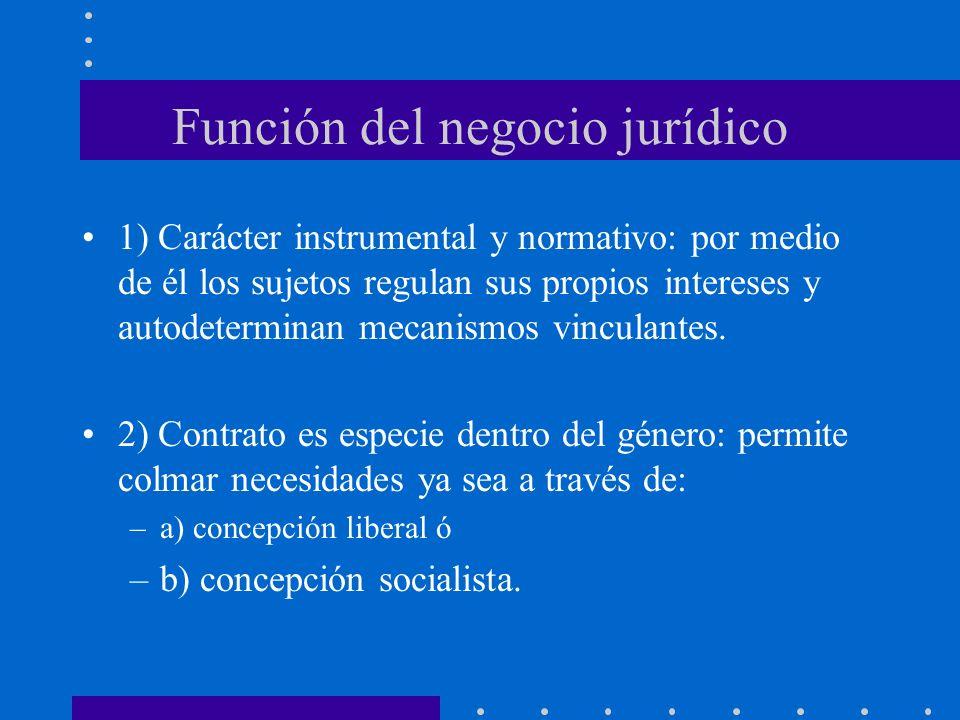 Función del negocio jurídico 1) Carácter instrumental y normativo: por medio de él los sujetos regulan sus propios intereses y autodeterminan mecanism