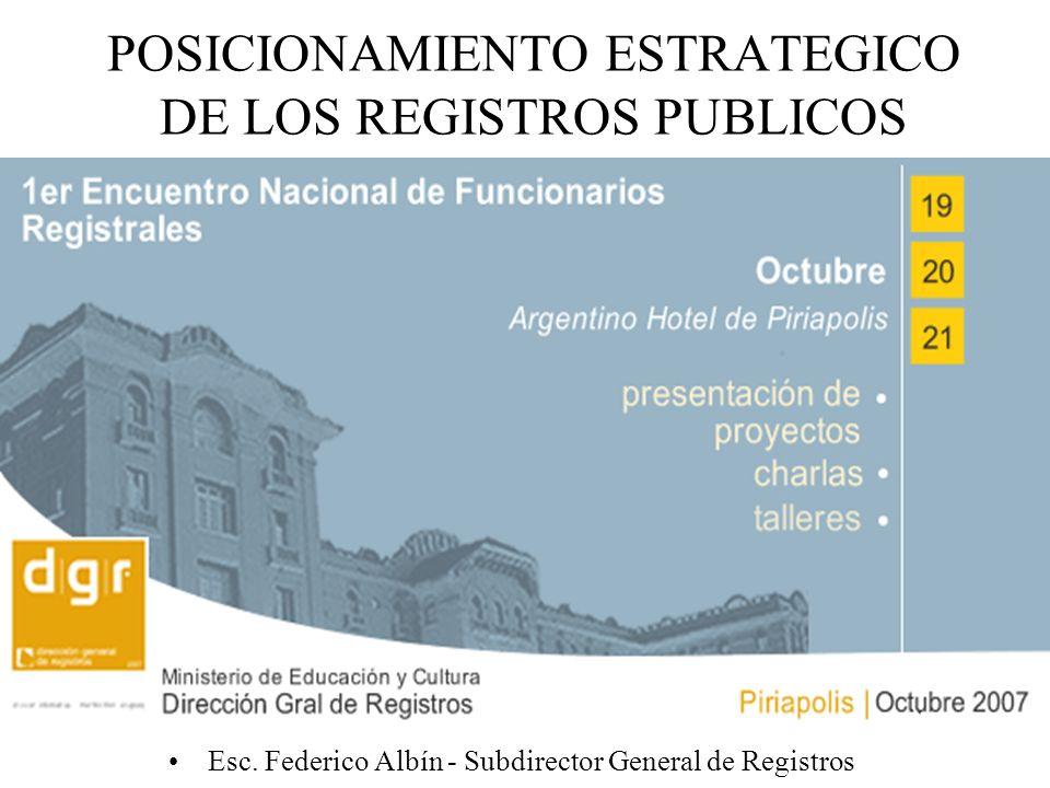 POSICIONAMIENTO ESTRATEGICO DE LOS REGISTROS PUBLICOS Esc. Federico Albín - Subdirector General de Registros