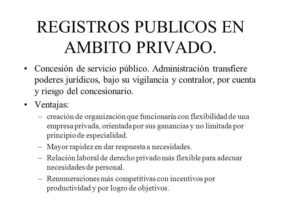 REGISTROS PUBLICOS EN AMBITO PRIVADO. Concesión de servicio público. Administración transfiere poderes jurídicos, bajo su vigilancia y contralor, por