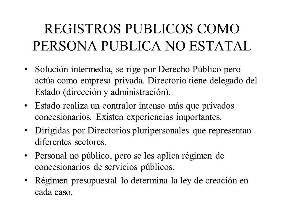 REGISTROS PUBLICOS COMO PERSONA PUBLICA NO ESTATAL Solución intermedia, se rige por Derecho Público pero actúa como empresa privada. Directorio tiene