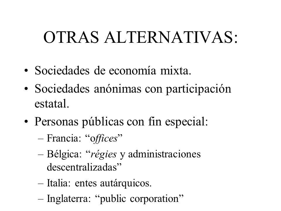 OTRAS ALTERNATIVAS: Sociedades de economía mixta. Sociedades anónimas con participación estatal. Personas públicas con fin especial: –Francia: offices