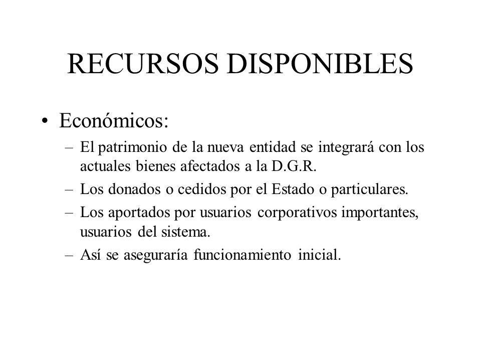 RECURSOS DISPONIBLES Económicos: –El patrimonio de la nueva entidad se integrará con los actuales bienes afectados a la D.G.R. –Los donados o cedidos