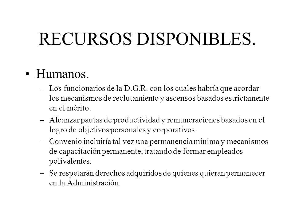 RECURSOS DISPONIBLES. Humanos. –Los funcionarios de la D.G.R. con los cuales habría que acordar los mecanismos de reclutamiento y ascensos basados est
