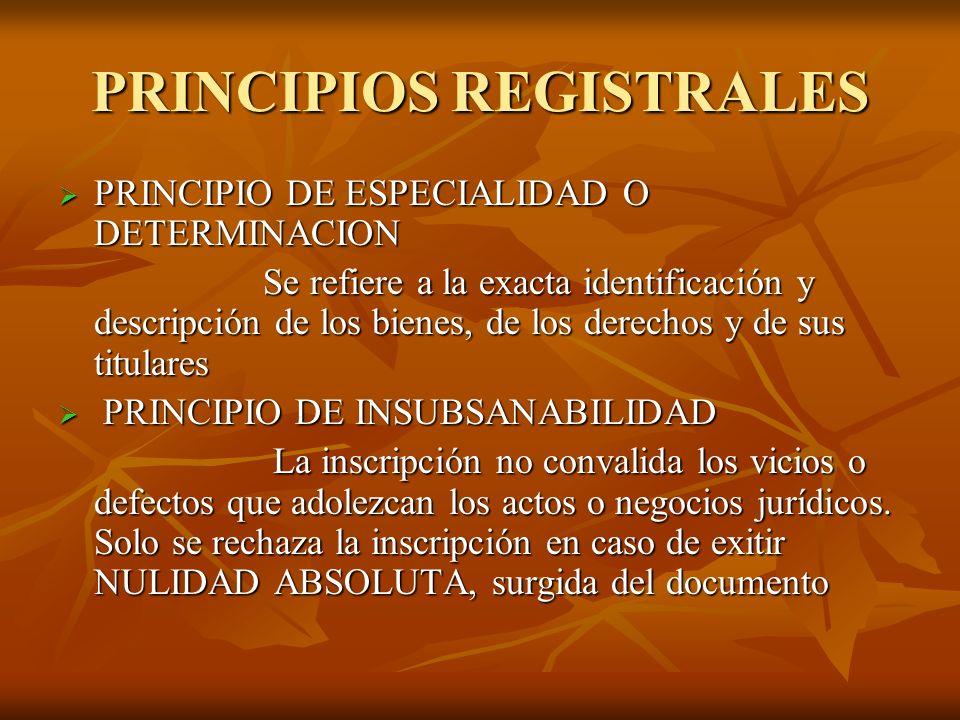 PRINCIPIOS REGISTRALES PRINCIPIO DE ESPECIALIDAD O DETERMINACION PRINCIPIO DE ESPECIALIDAD O DETERMINACION Se refiere a la exacta identificación y des
