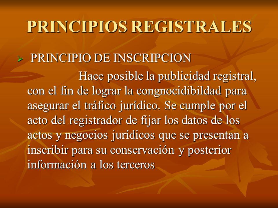 PRINCIPIOS REGISTRALES PRINCIPIO DE INSCRIPCION PRINCIPIO DE INSCRIPCION Hace posible la publicidad registral, con el fin de lograr la congnocidibilda